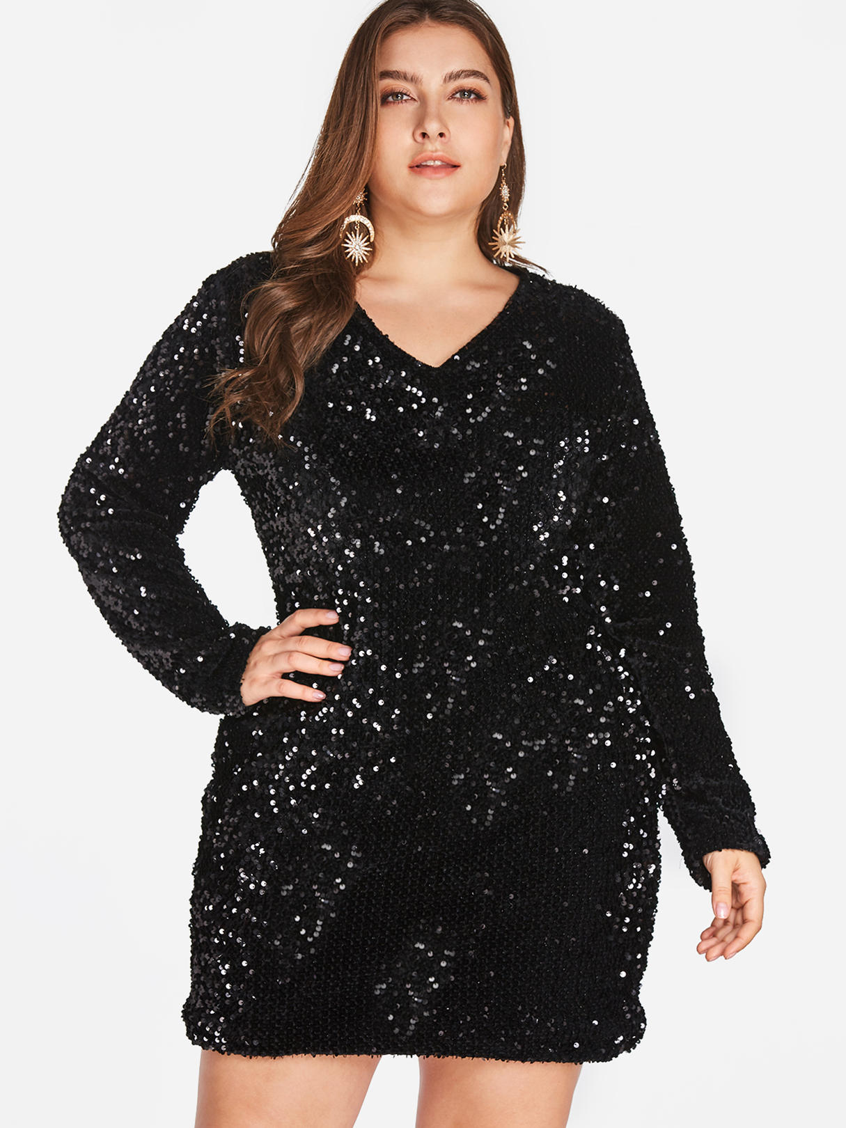 Plus Size Black Sequin Mini Dress