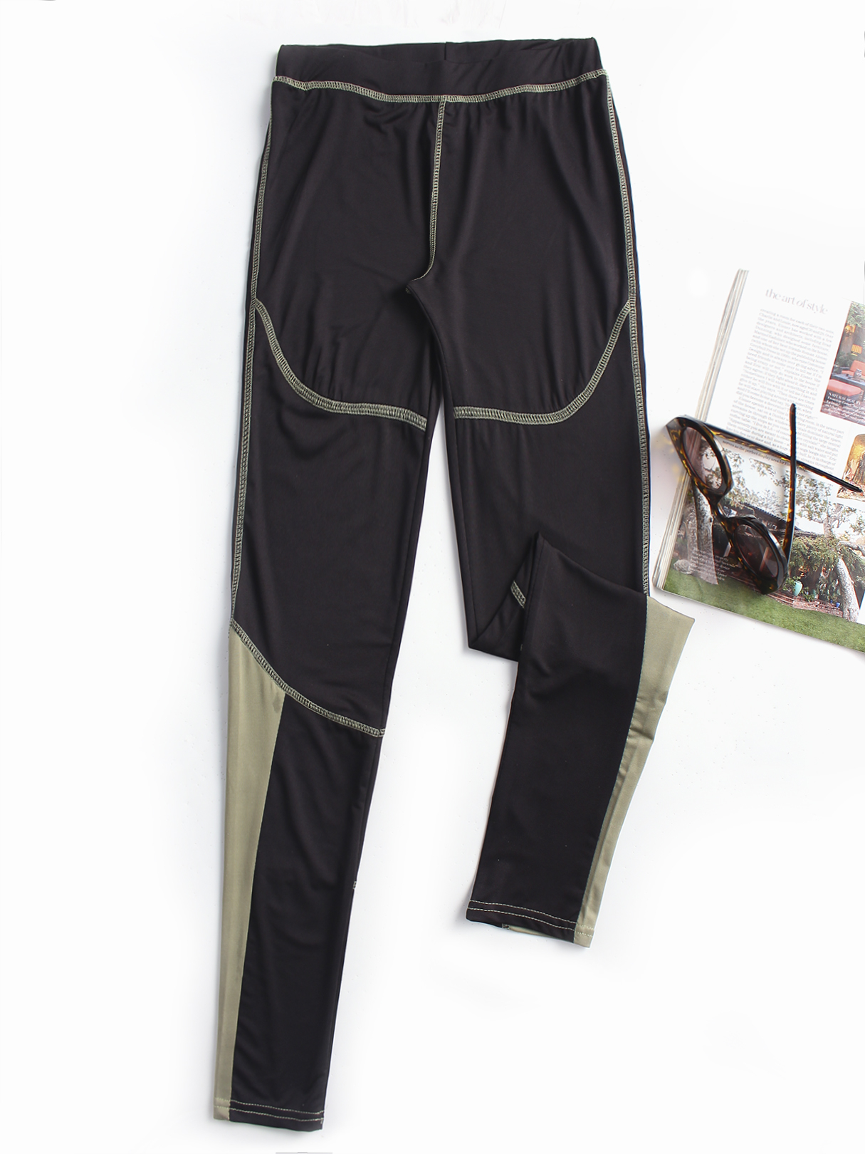 Black  Active Contrast Color Quick Drying Gym Leggings