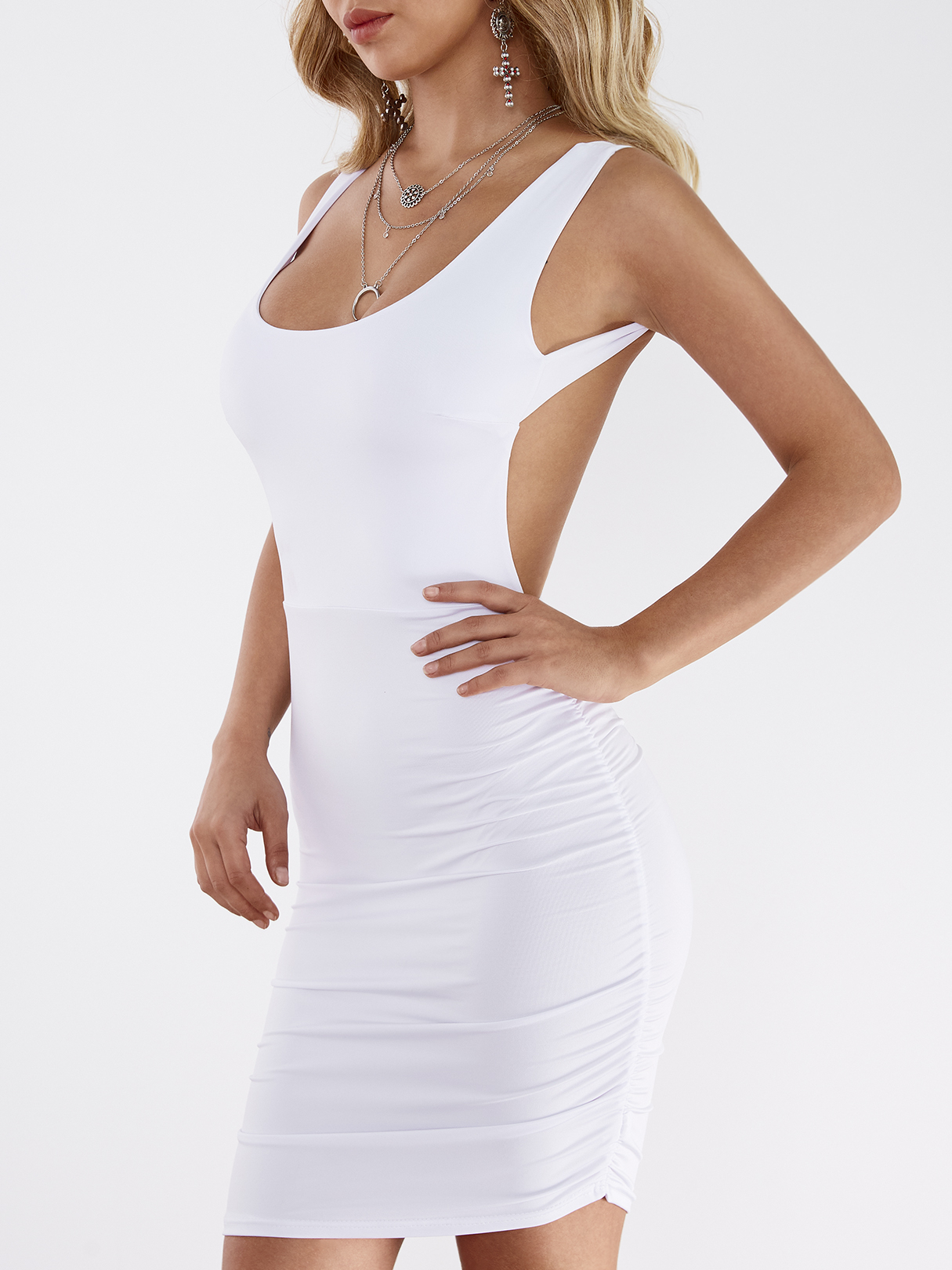 White Sexy Backless Mini Bodycon Dress