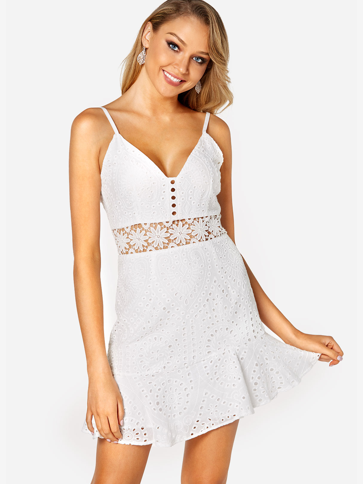 White High-waisted Lace Insert Mini Dress