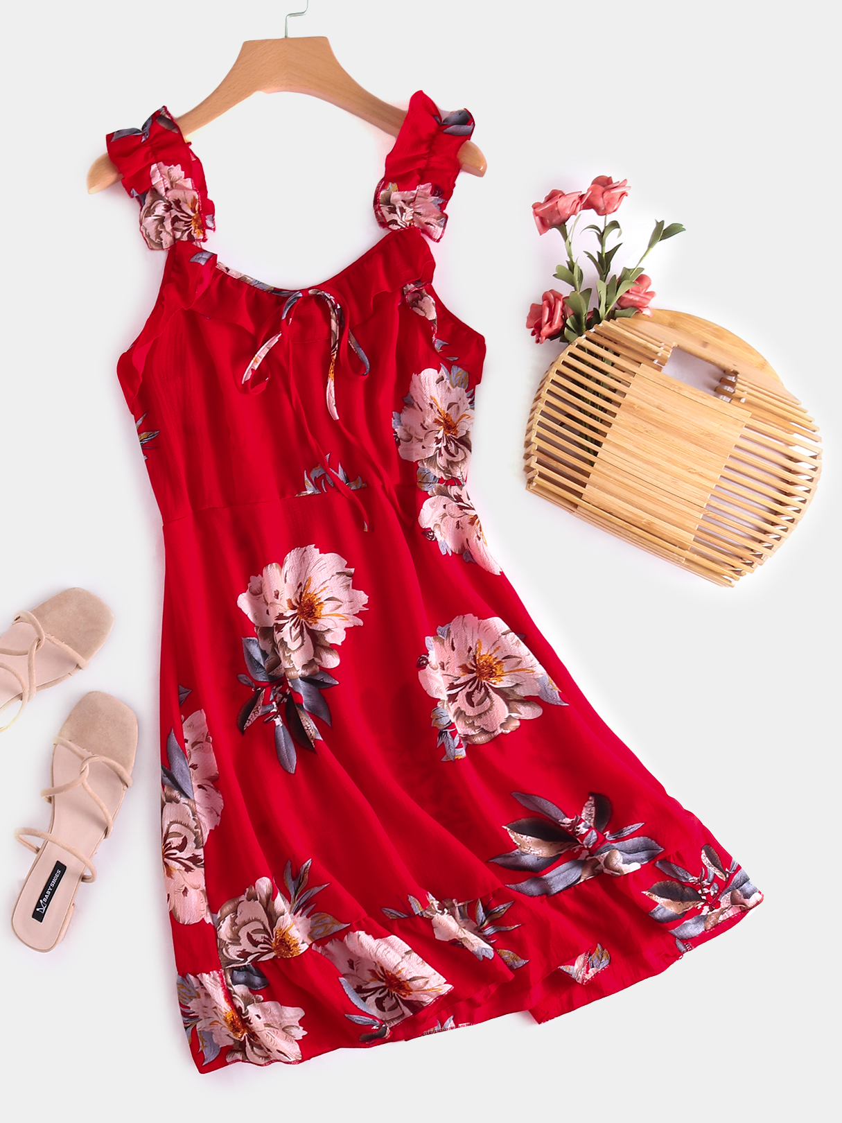 Red Backless Design Floral Print V-neck Sleeveless Dress