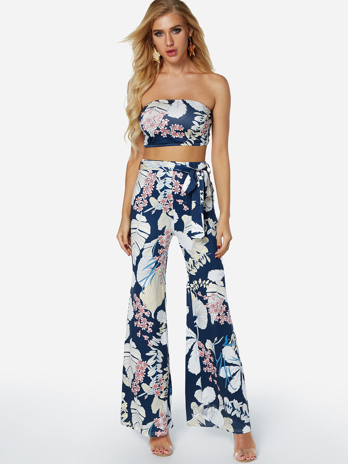 Random Floral Print Tube Top & Wide Leg Trousers Two Piece Outfits, Multi