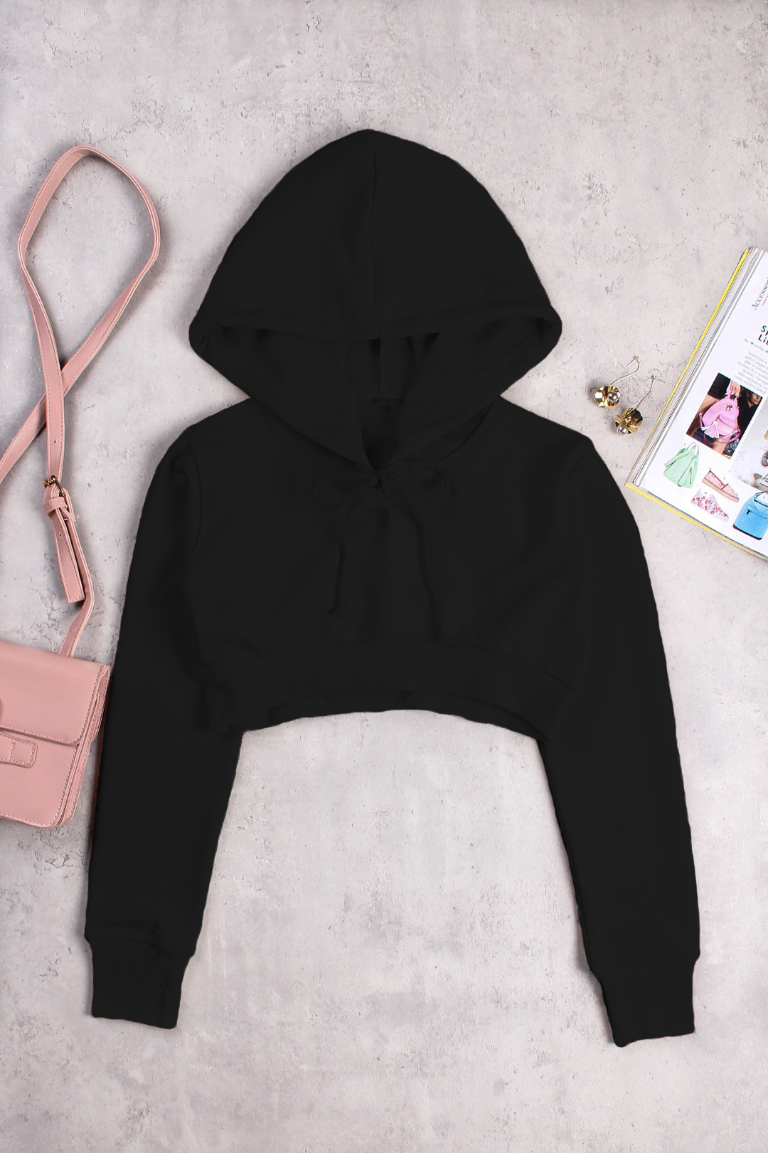 Black Active Round Neck Cut Out Drawstring Waist Sports Crop Hoodie