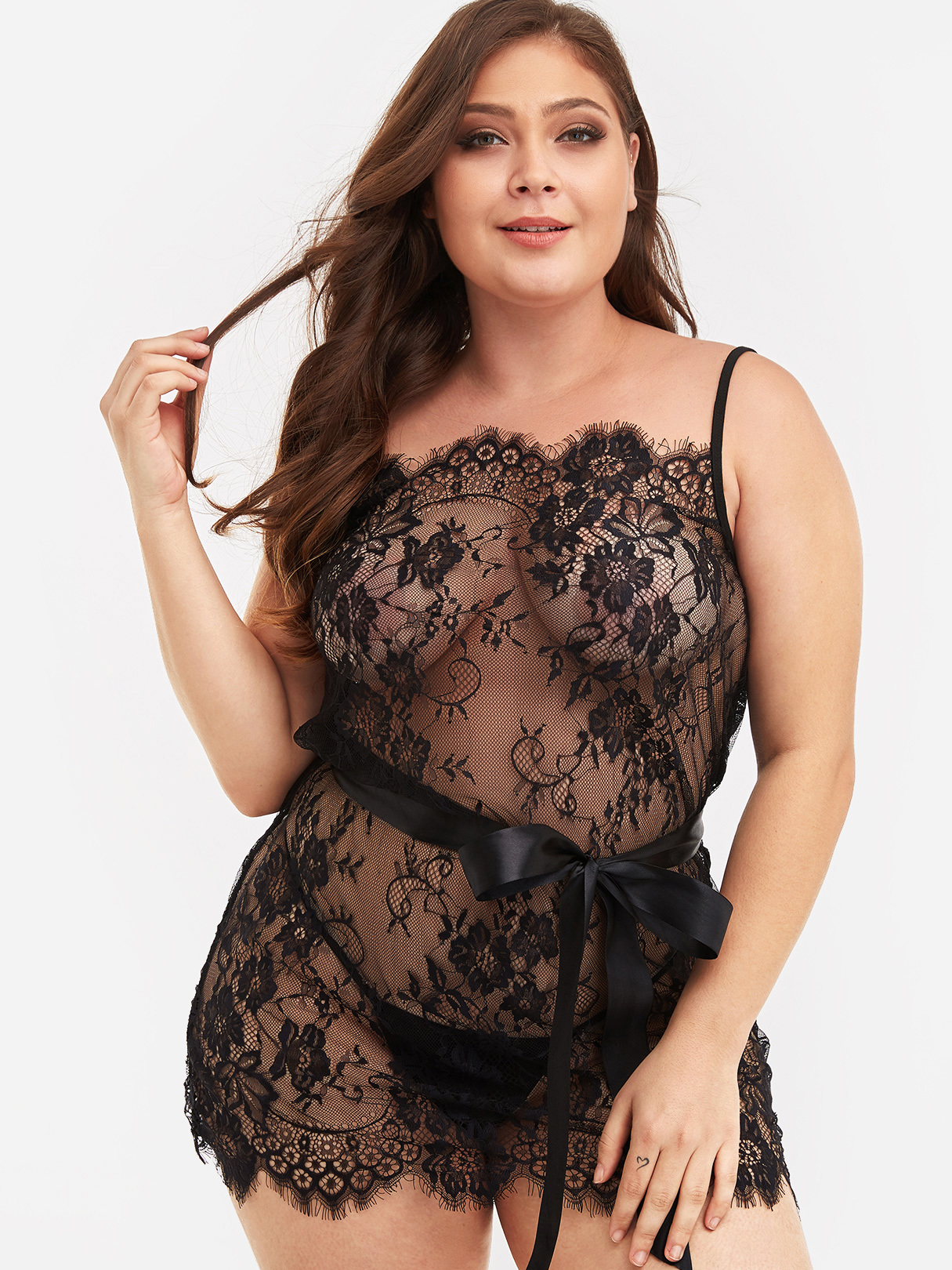 Plus Size Black Self-tie Lace Babydoll With Thong