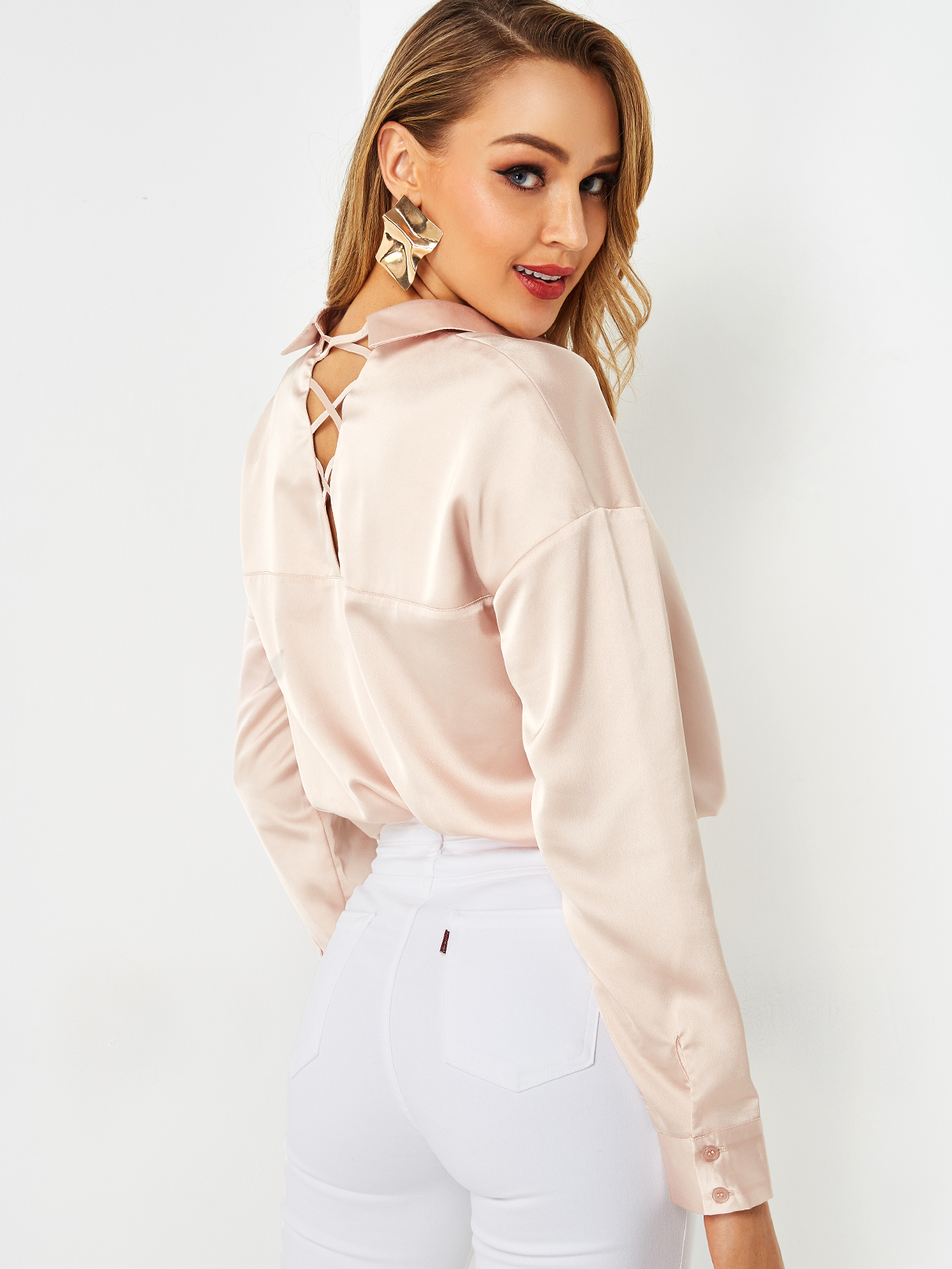 Light Pink Crossed Back Design Lapel Collar Long Sleeves Stain Blouse
