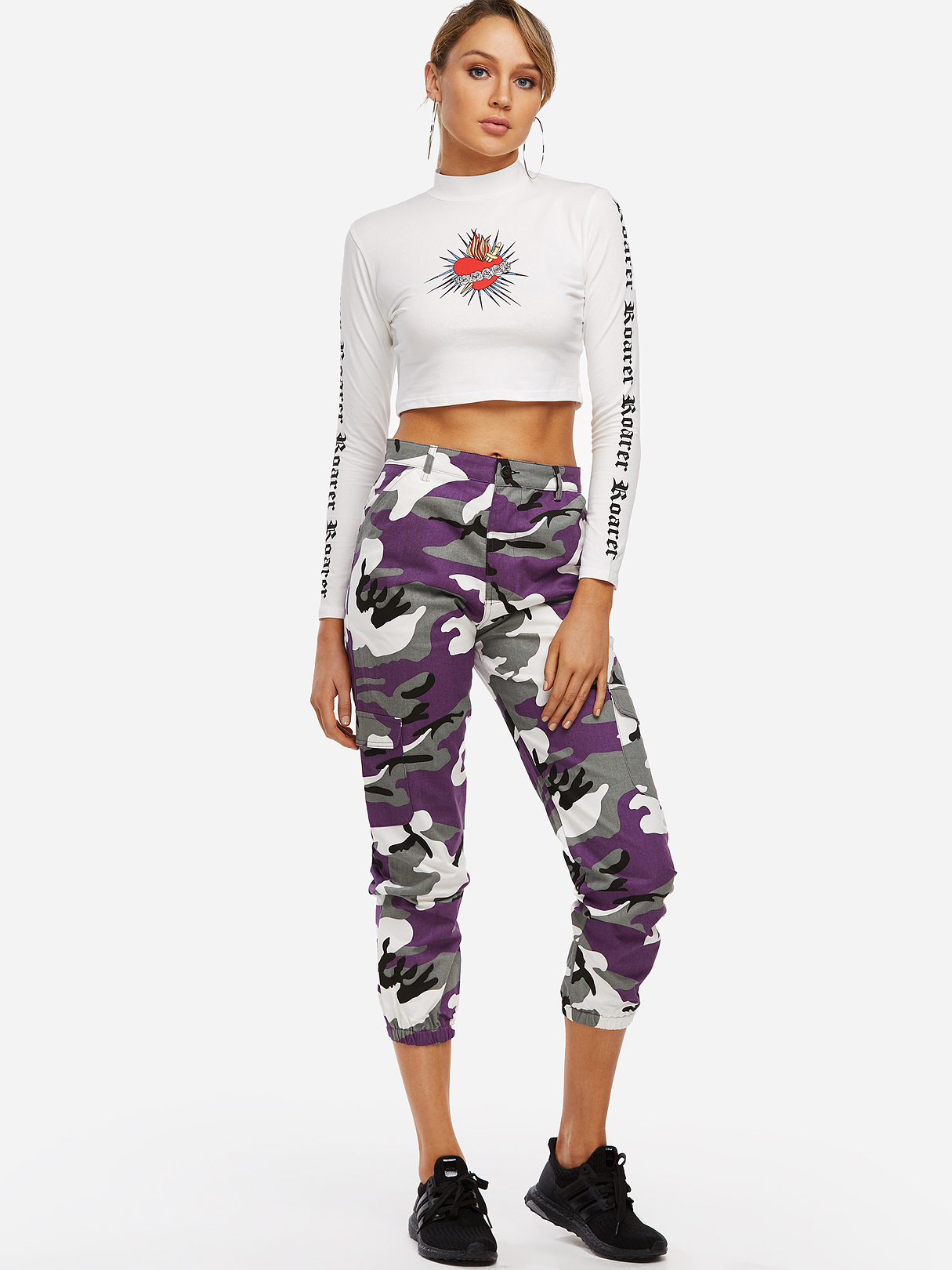 Active Camo Pattern High Waisted Sports Pants in Purple