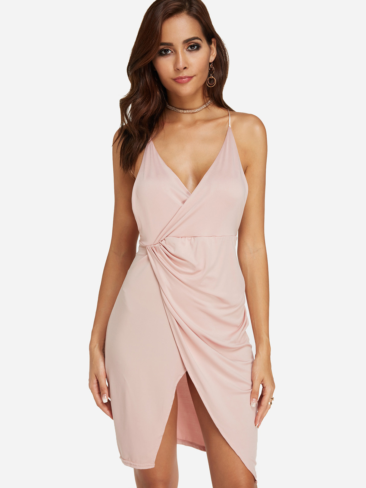Bilde av Apricot Backless Design Plain Deep V Neck Sleeveless Wrap Dress