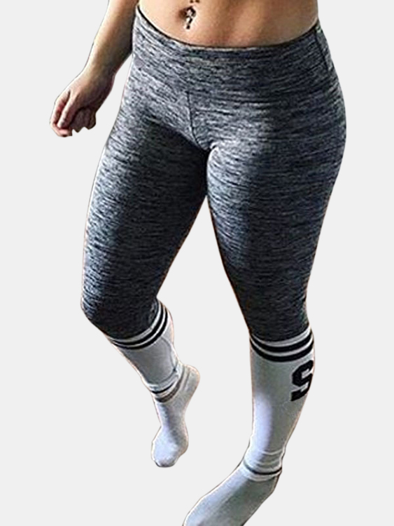 Active Contrast Color Letter Pattern High Waisted Leggings in Grey