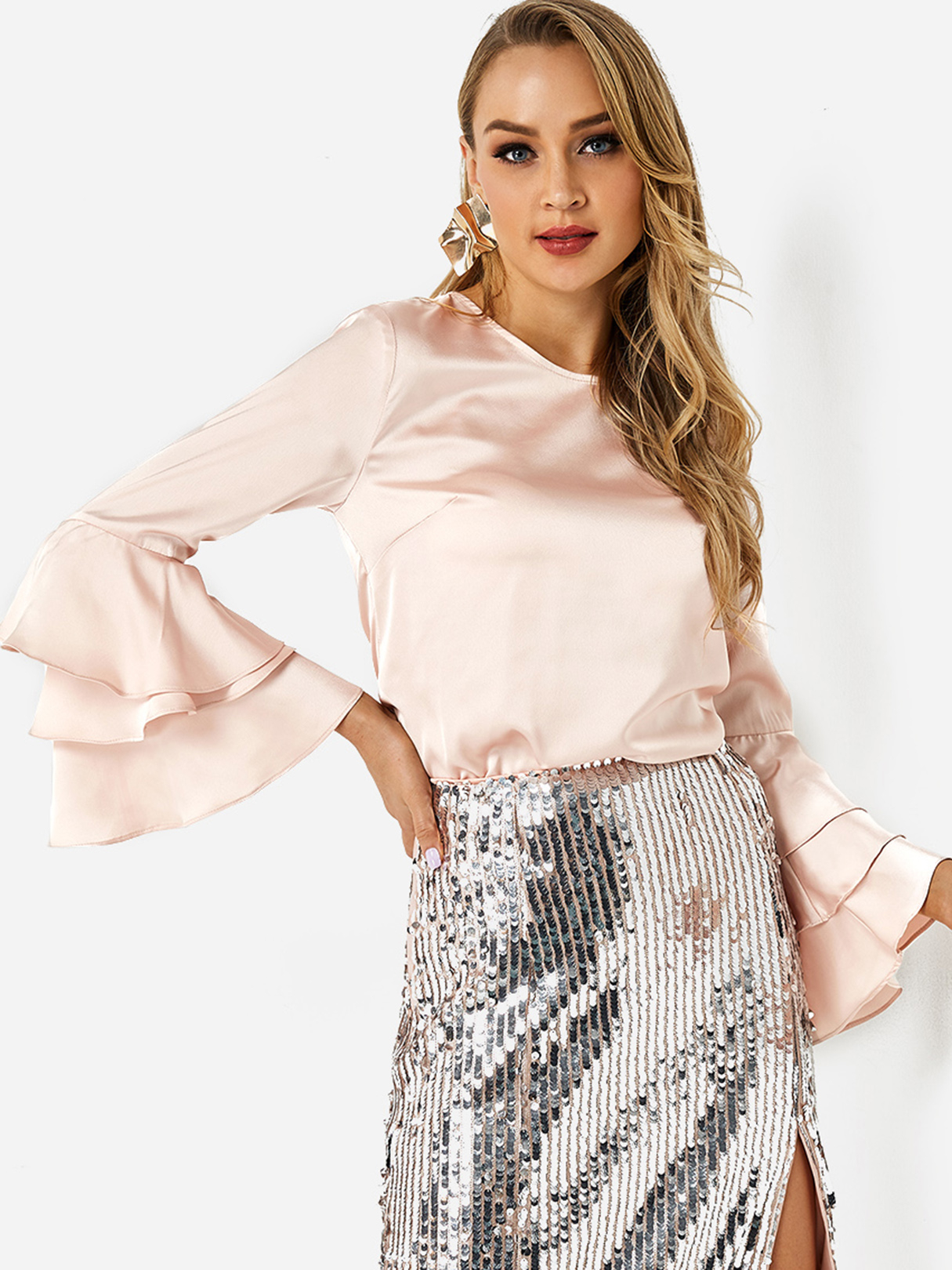 Pale Pink Round Neck Long Bell Layer Sleeve Satin Top