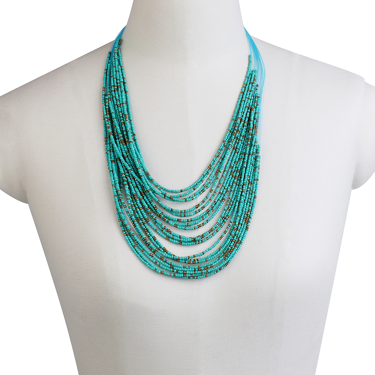 Blue Boho Layer Beads Necklace