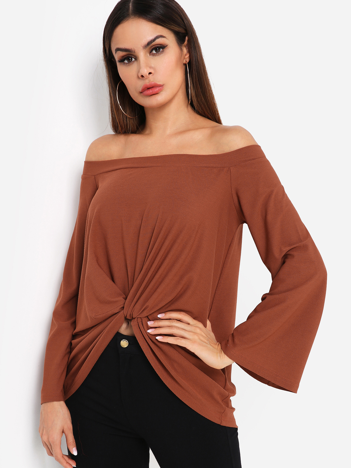 Brown Off Shoulder Bell Sleeves Knot Front Tee