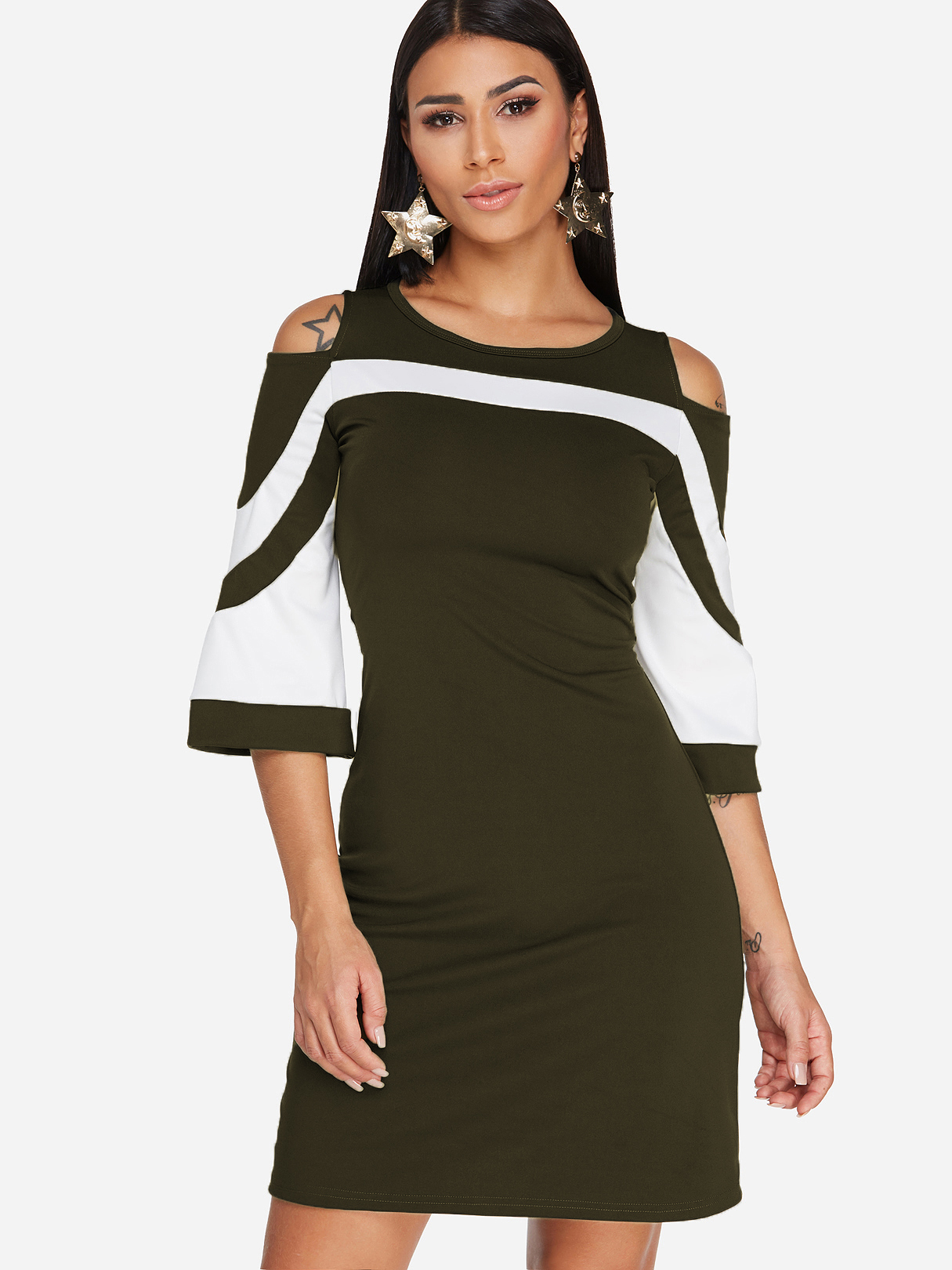 Army Green Cold Shoulder Stripe Bell Sleeves Dress