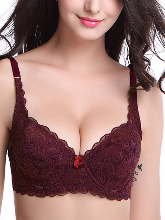 Red Scalloped Edge Lace Underwire Bra, Burgundy