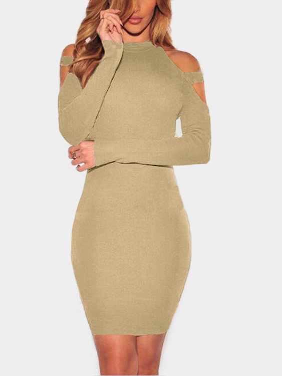 Apricot Solid Color Cold Shoulder Bodycon Mini Dresses