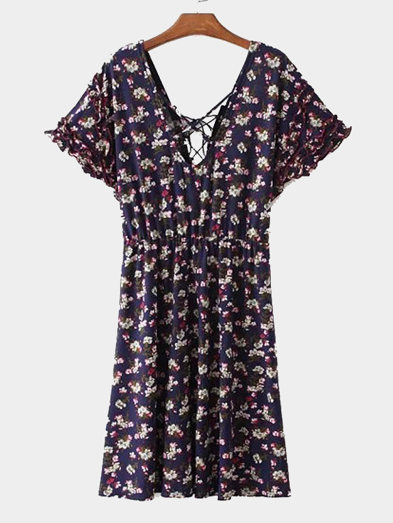 Random Floral Calico Print V-neck Tie Back Pastoral Style Summer Dress