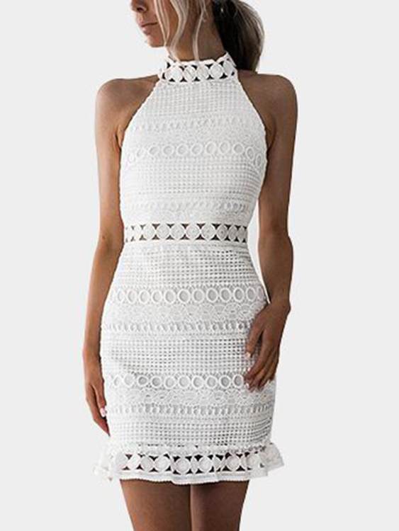 White Lace Cut Out Design High Neck Sleeveless Dress