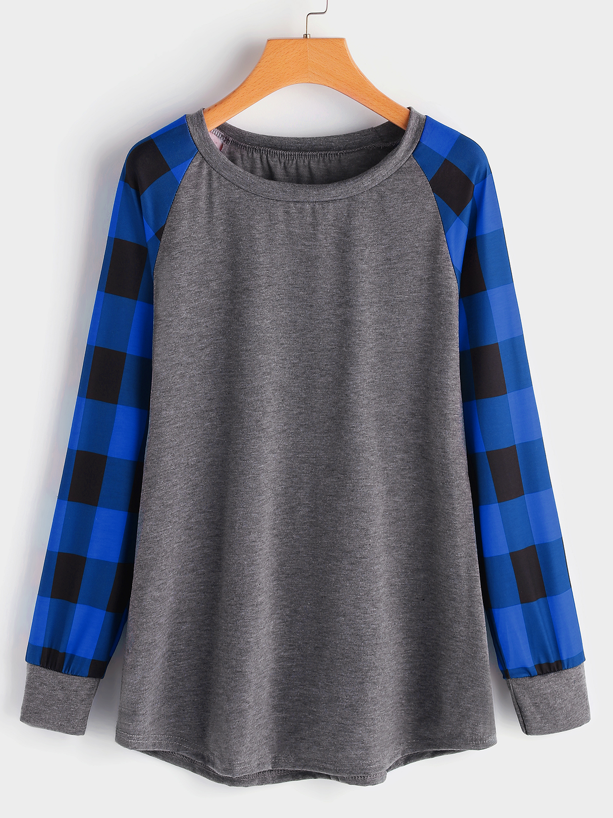 Plus Size Color Block Contrast Checked Sleeves Sweatshirt