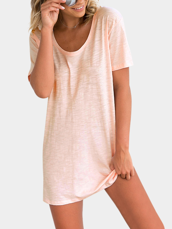 Casual Tee Dress in Pale Pink