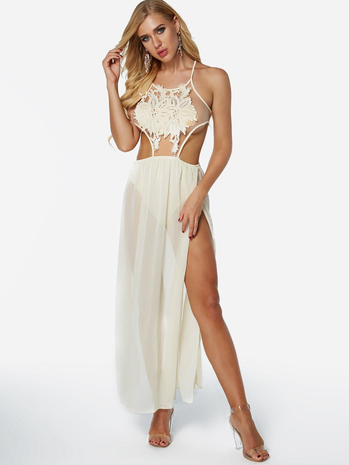 Bilde av Apricot Lace See through Design Halter Backless Design Splited Hem Dress