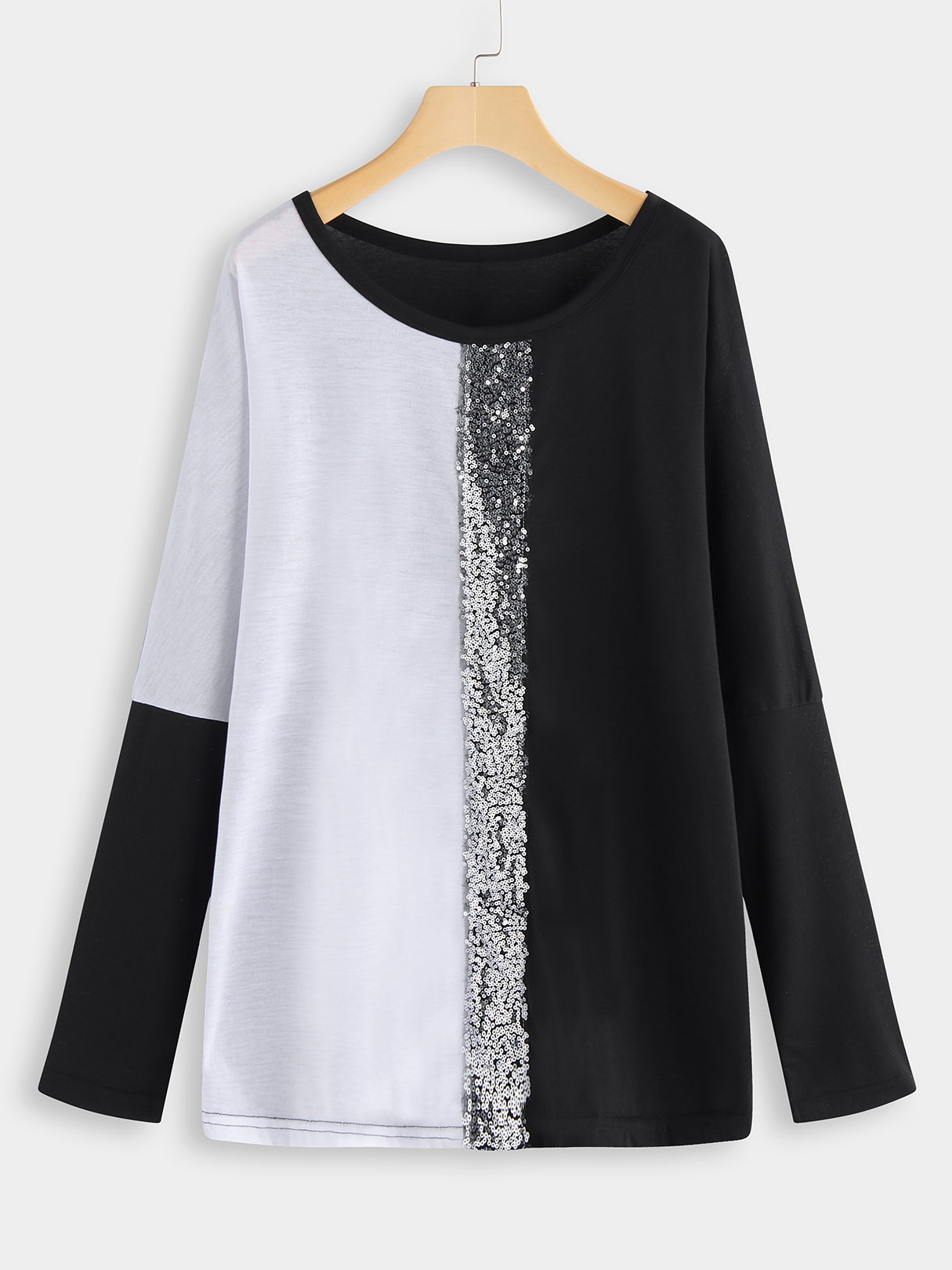 Plus Size Color Block Sequins Tee