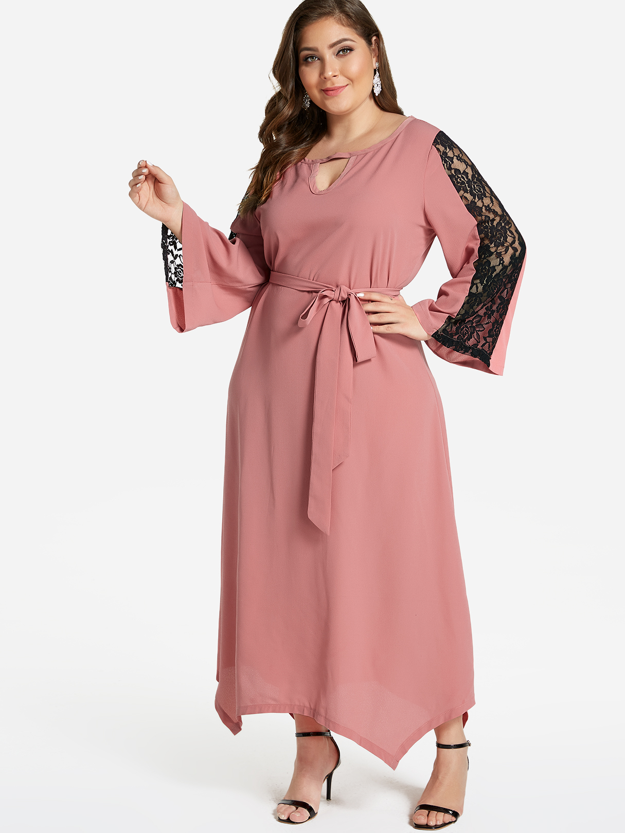 Plus Size Pink Lace Insert Bell Sleeves Maxi Dress