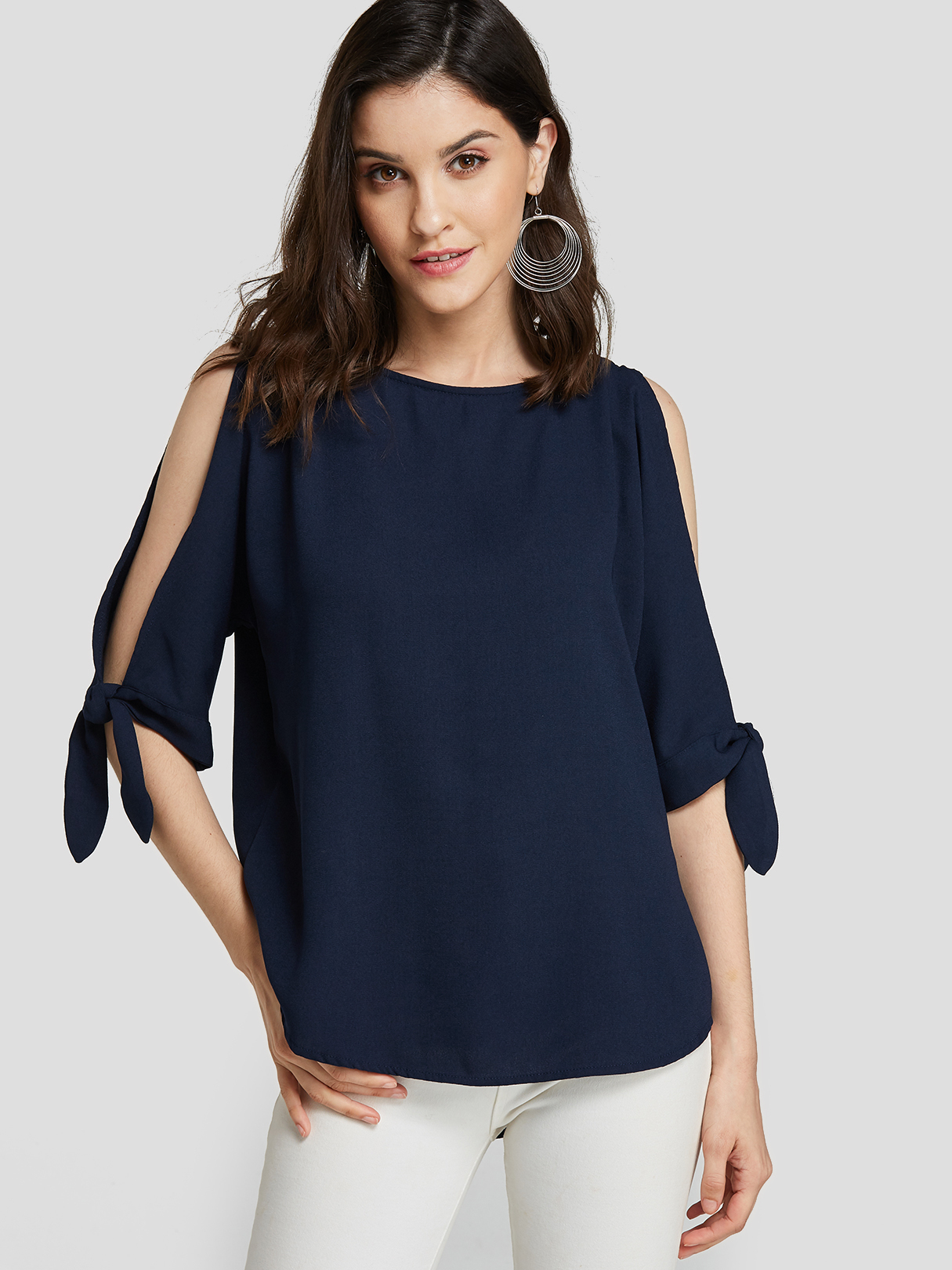 Navy Self-tie Design Round Neck Cut Out Sleeves Blouse
