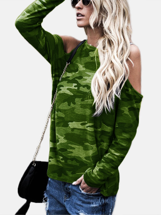 9cc12235997043 Green Camouflage Round Neck Cold Shoulder Long Sleeves T-shirt - US ...
