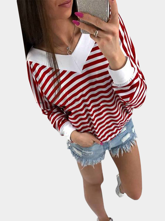 Red and White Stripe Pattern V-neck Long Sleeves Top