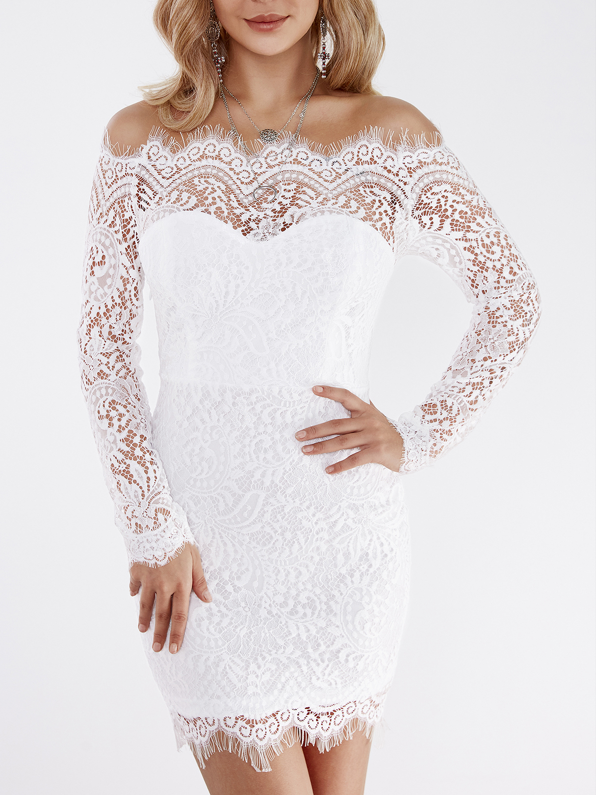 White Lace Details Off The Shoulder Long Sleeves Bodycon ...