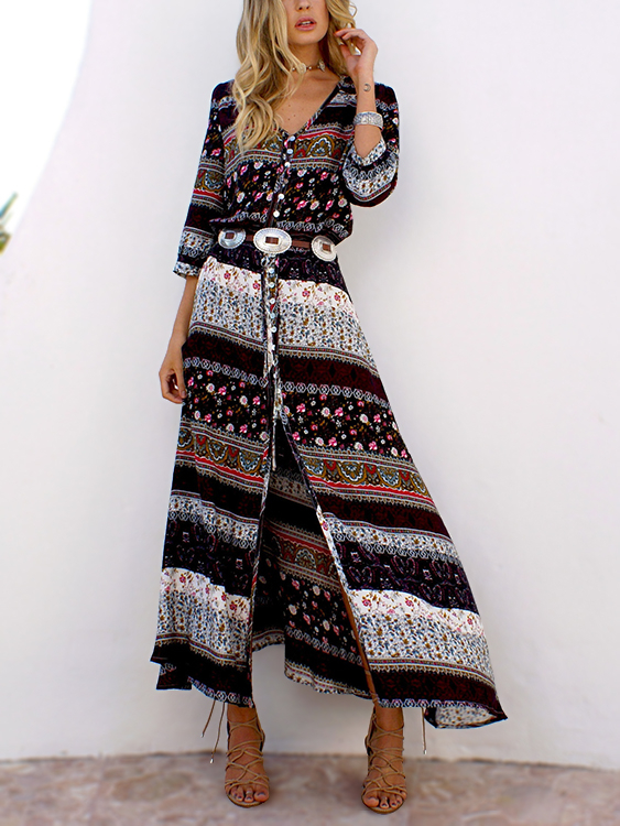 Brown V-neck Floral Button-down Maxi Dress