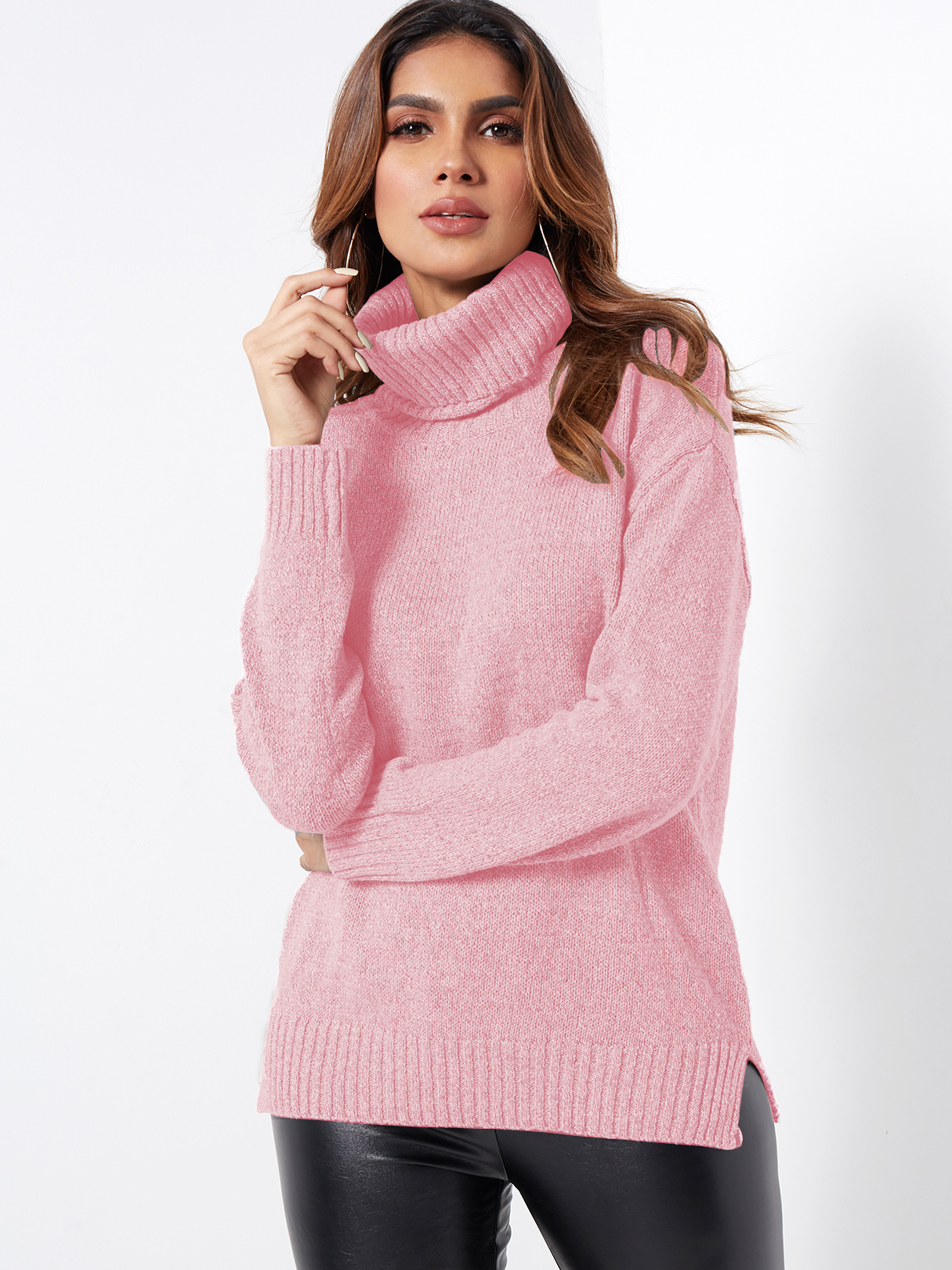 Pink Roll Neck Knitted Pullover Jumper