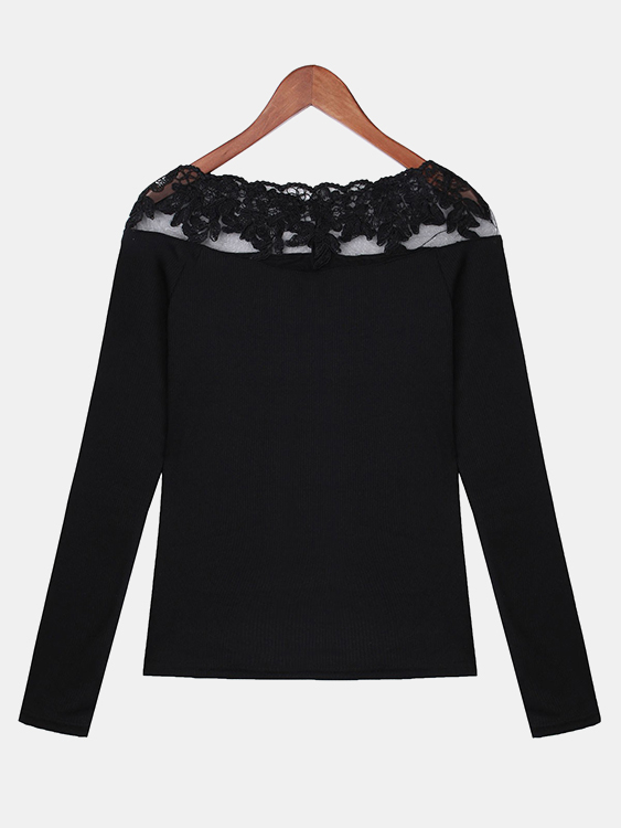 See Through Design Round Neck Lace Insert Blouse, Black