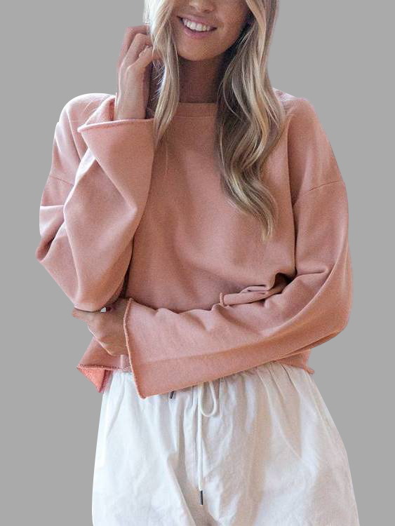 Light Pink Simple Long Sleeves Sweater