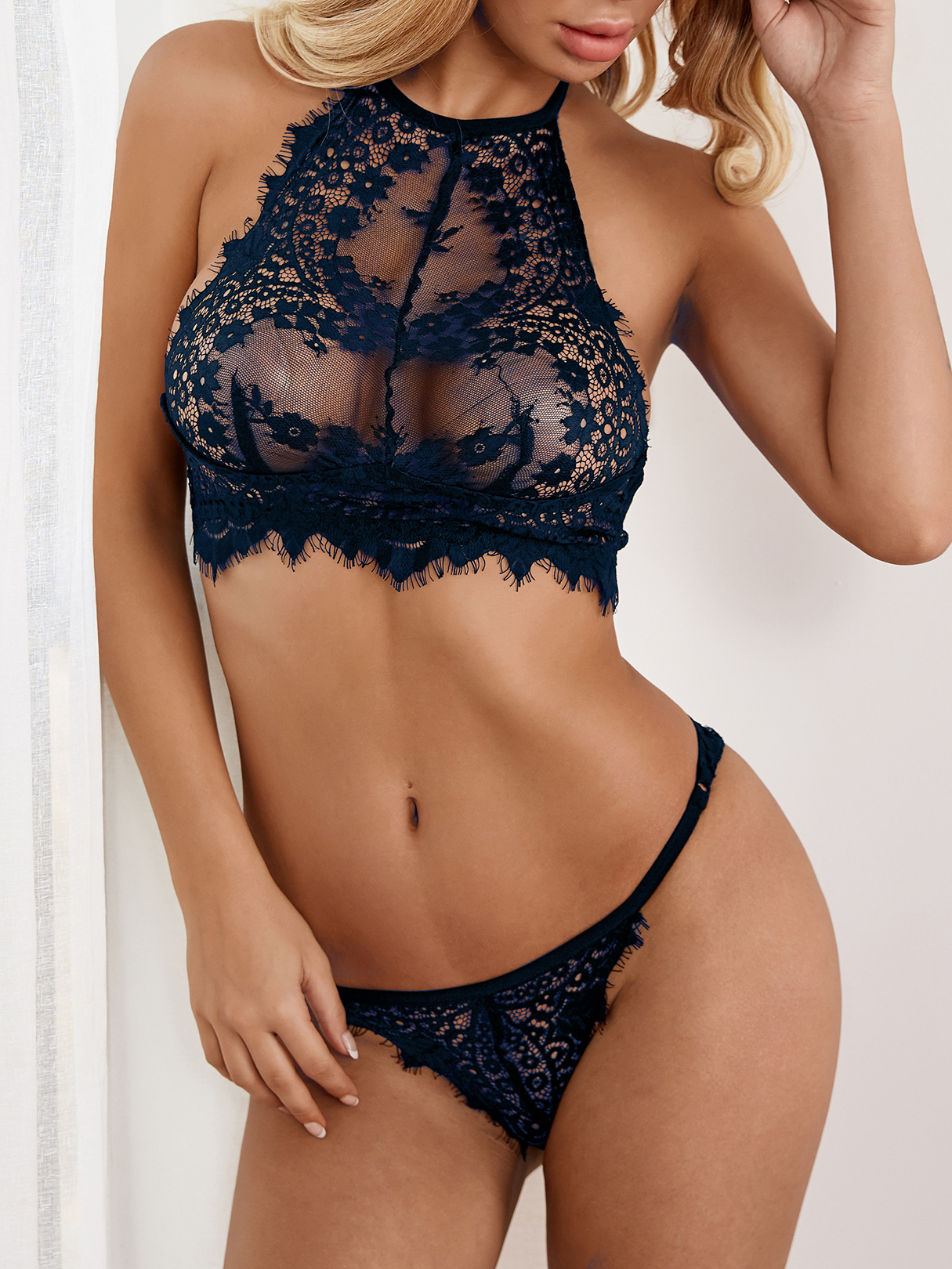 Dark Blue Sexy Delicate See-through Eyelash Trim Halter Lingerie Set without Stockings