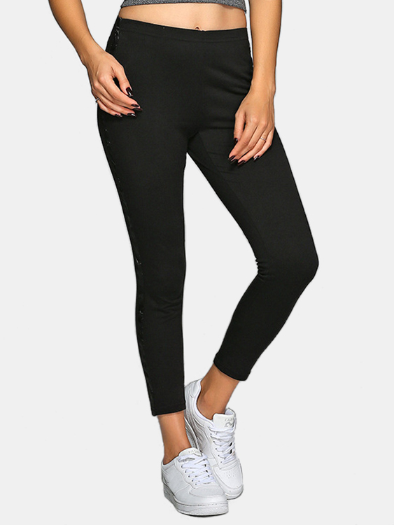 Active Contrast Color Stitching High Waisted Yoga Leggings in Black