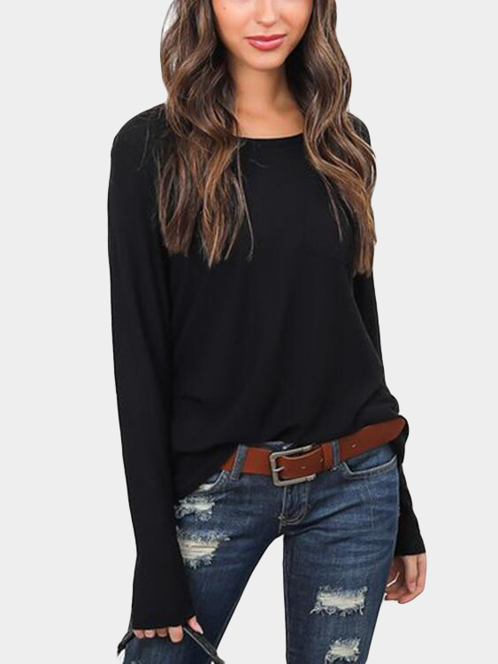 Black Solid Color Front Pocket Long Sleeves T-shirt
