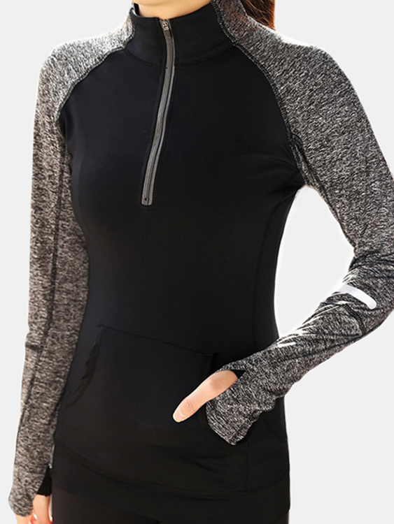 Active Stitching Turtleneck Front Zipper Sports Hoodies with Mitten in Black