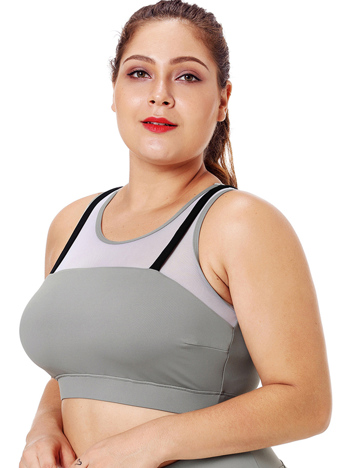Plus Size Grey Criss-cross Round Neck Tank Top