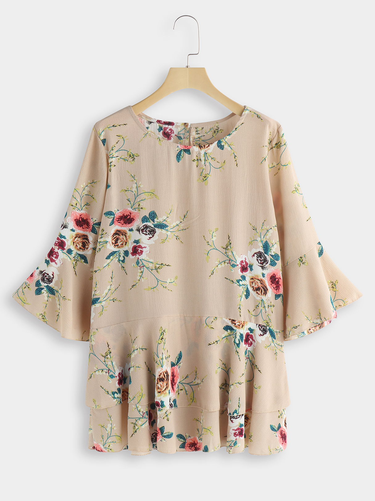 Plus Size Khaki Floral Print Bell Sleeves Blouse, Multi