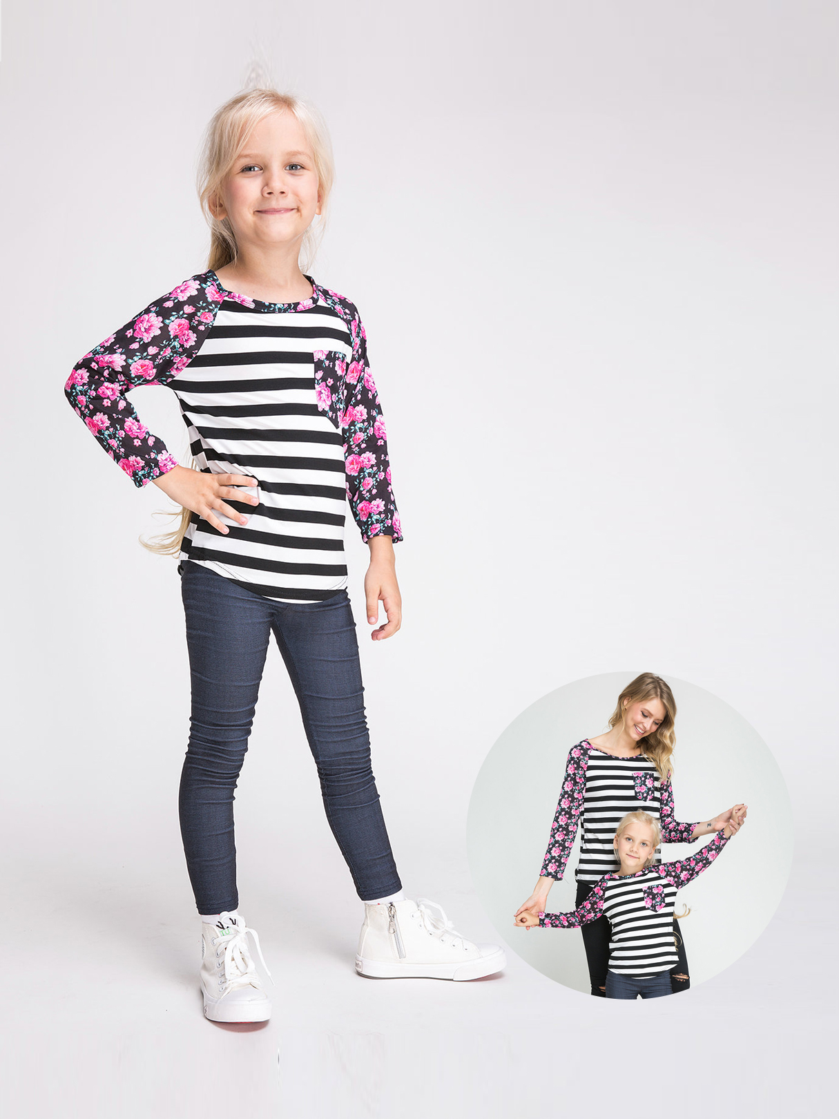 Floral Striped Print Mom and Daughter Matching T-Shirts - Daughter