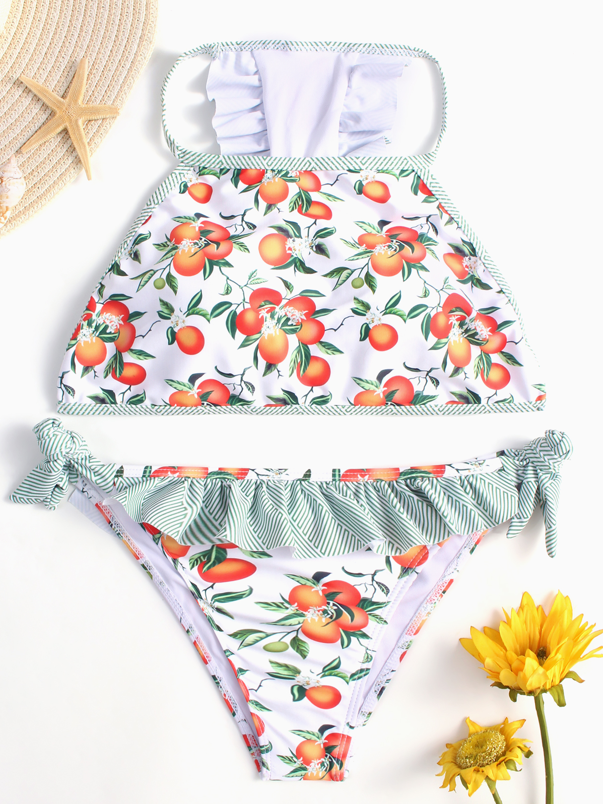 Floral Print Tie-up Side Ruffle Bikini Set in White