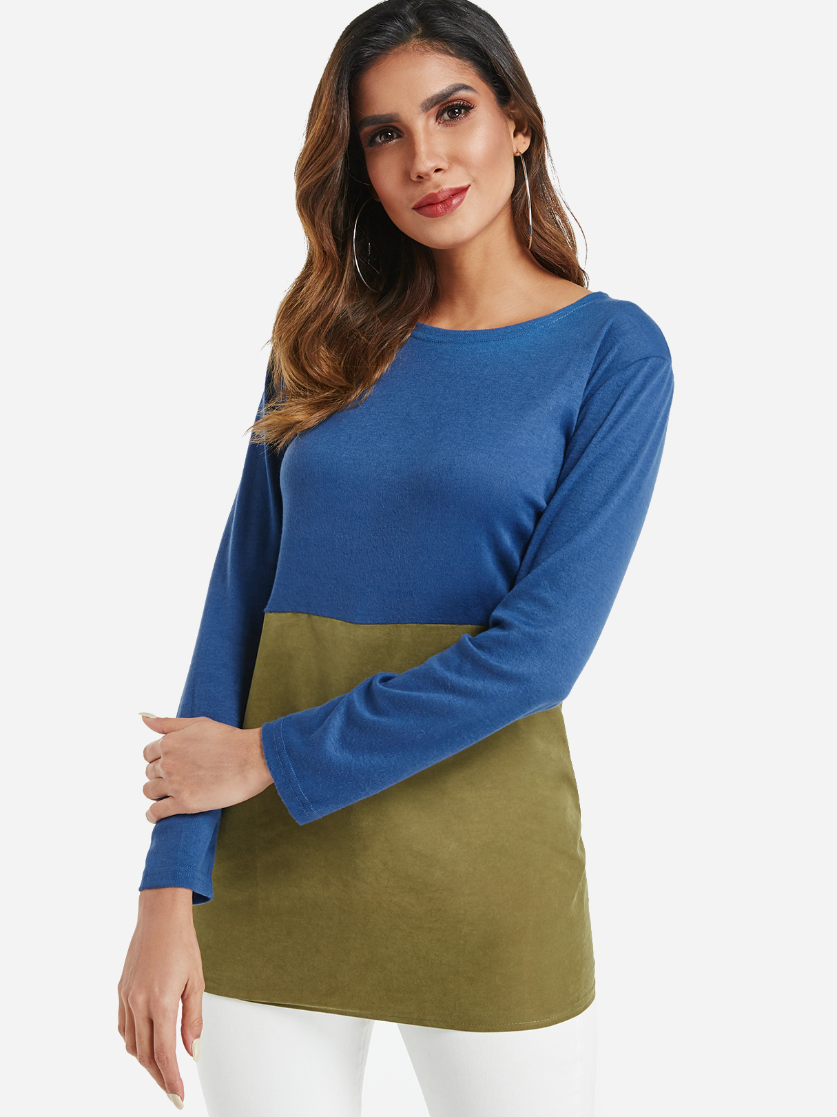 Blue and Green Colorblock Tee, Color block