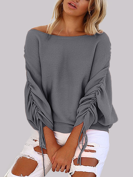 Grey Lace-up Design One Shoulder Long Sleeves Sweaters