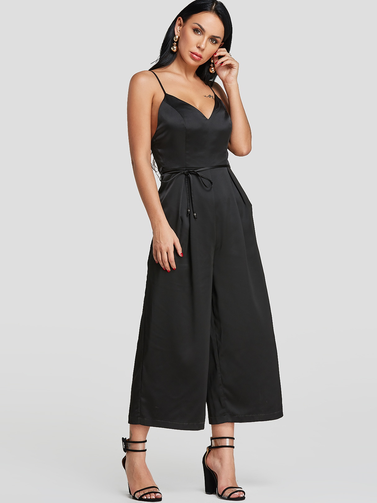 Black Backless Design Spaghetti Wide Leg Jumpsuit