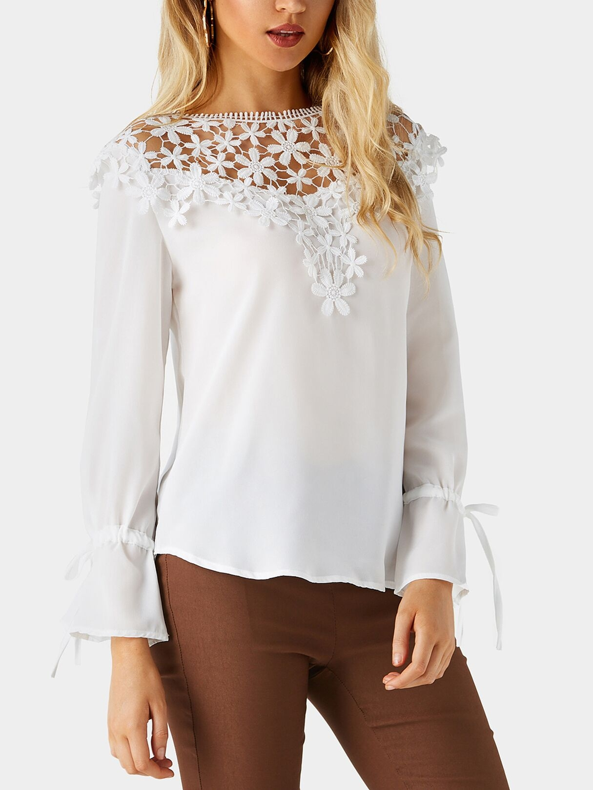 White Round Neck Bell Sleeves Embroidered Blouses