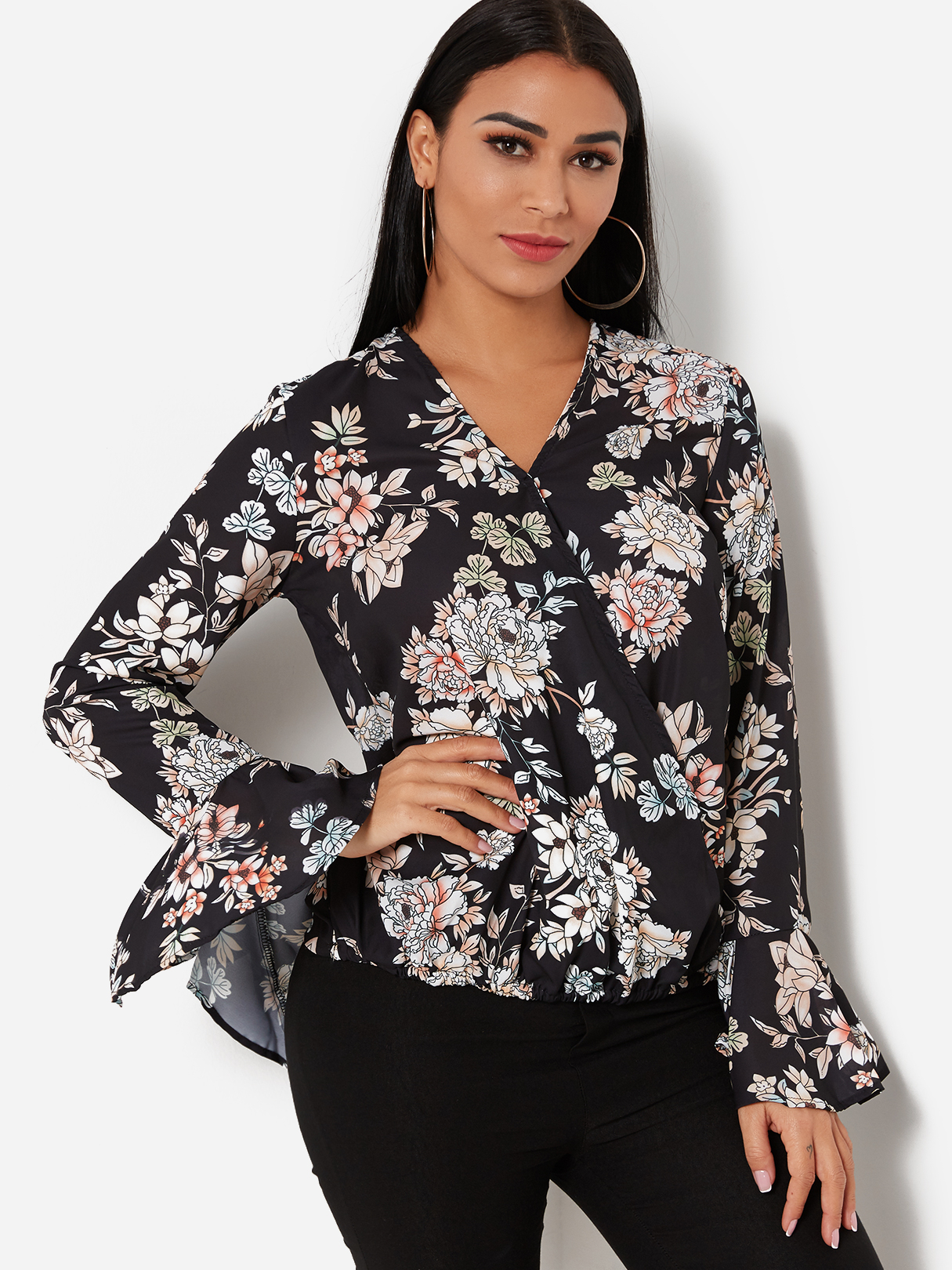 Black Random Floral Print Crossed Front V-neck Long Bell Sleeves Blouse
