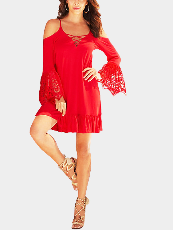 Red Cold Shoulder Flared Sleeves Lace Trims Dress