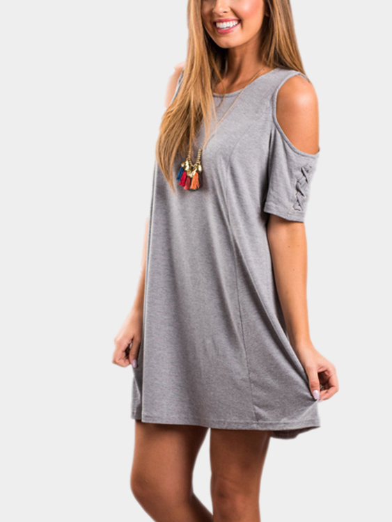 Grey Mini Dress With Cold Shoulder