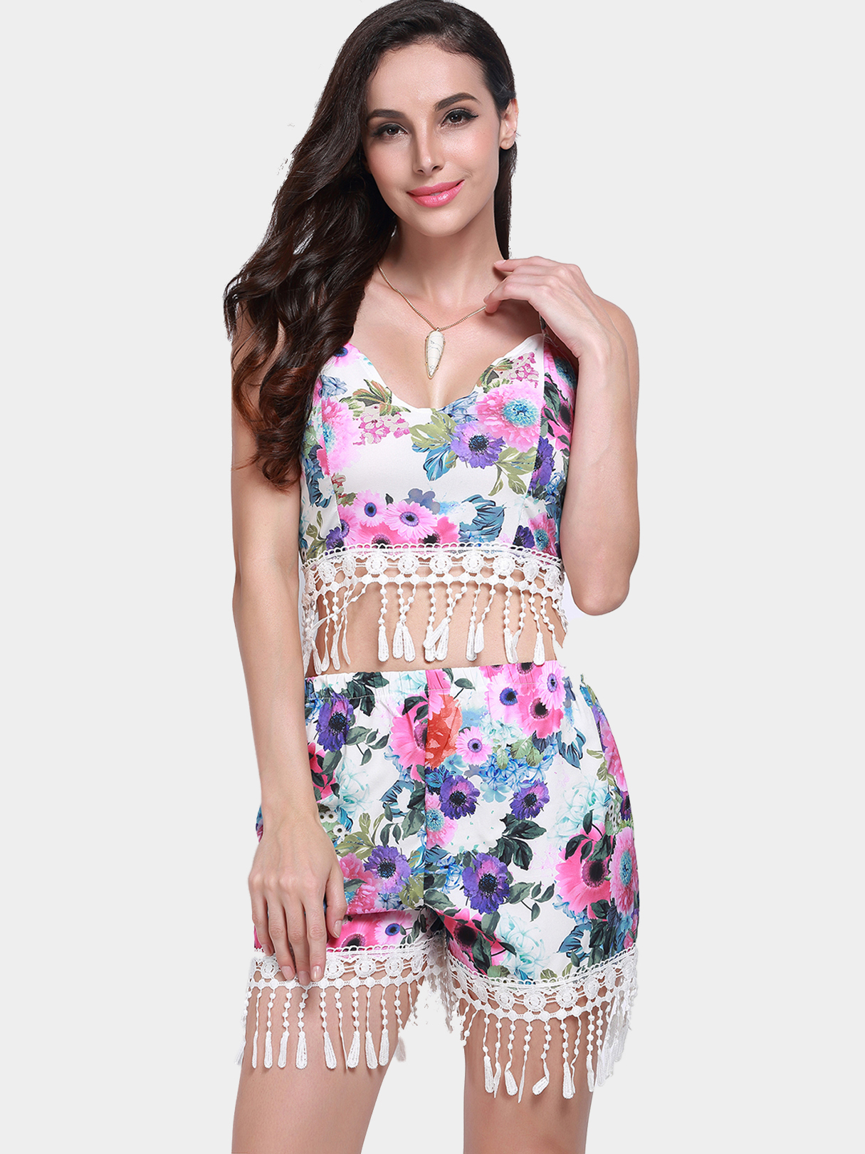 Floral Print Fringed Shorts Co-ord