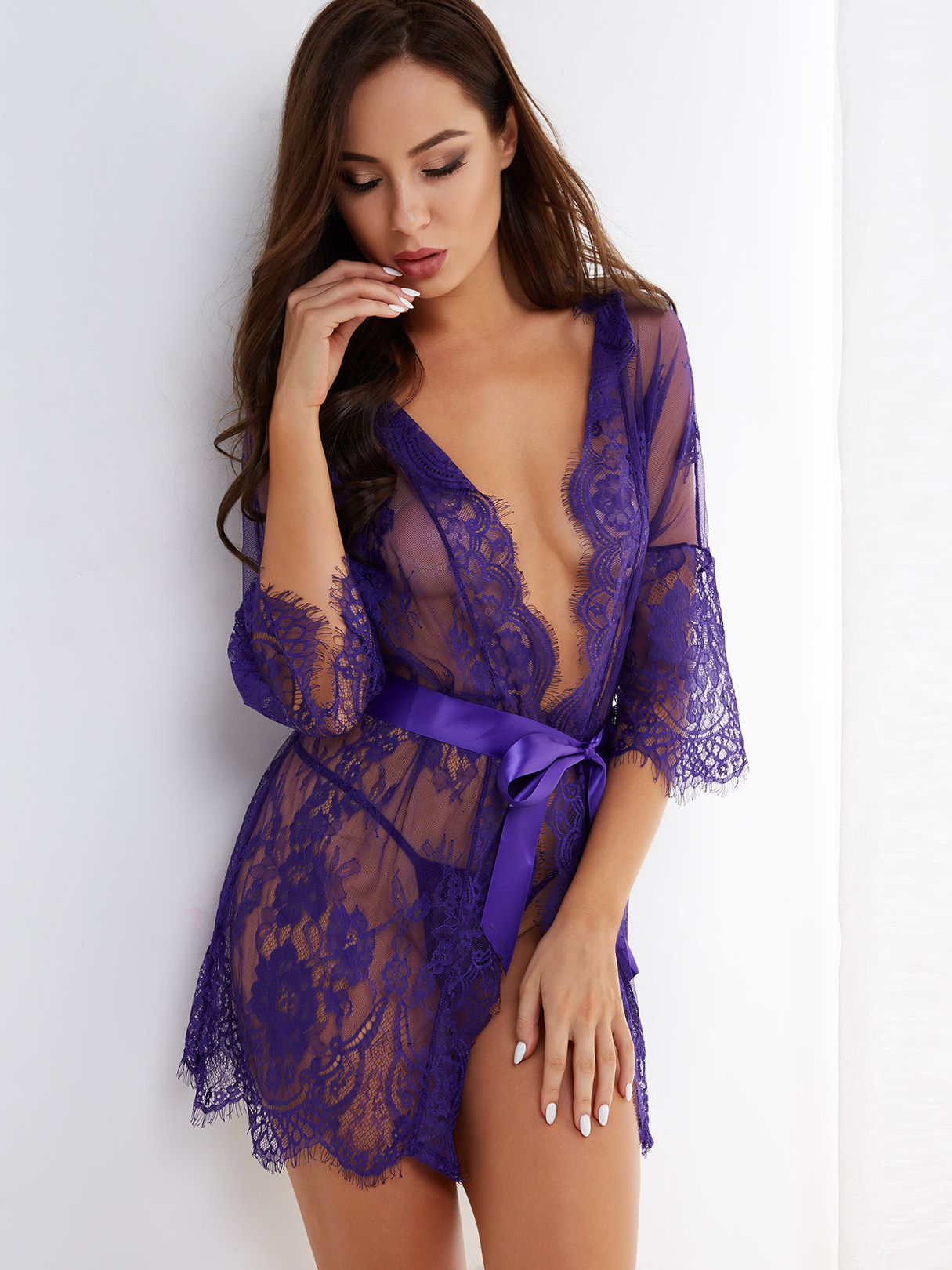 Purple Tease V-neck Floral Lace Robe with Thong